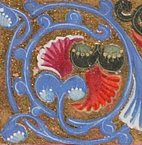 decorative blue and red swirled flower Syriac image cropped from manuscript from Aleppo
